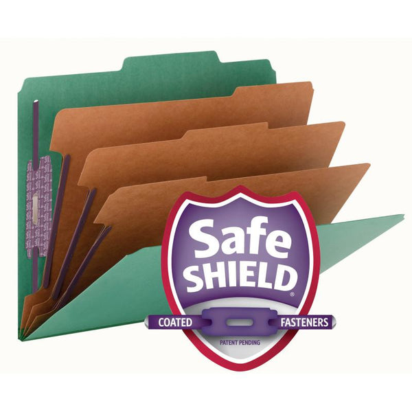"Smead Pressboard Classification File Folder with SafeSHIELD® Fasteners, 3 Dividers, 3"" Expansion, Letter Size, Green, 10 per Box  (14097)"