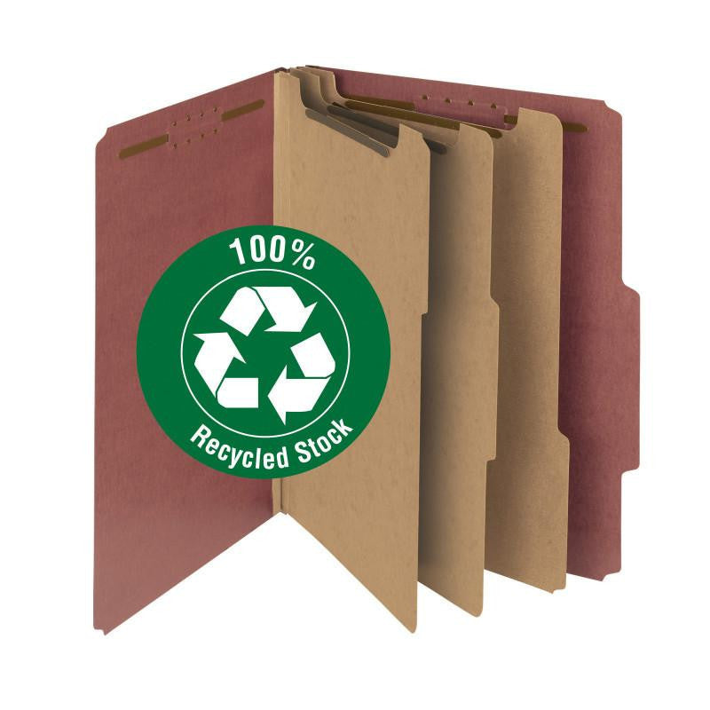 "Smead 100% Recycled Pressboard Classification File Folder, 3 Dividers, 3"" Expansion, Letter Size, Red, 10 each per Box (14099)"