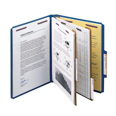 "Smead Premium Pressboard Classification File Folder with SafeSHIELD® Fasteners, 2 Dividers, 2"" Expansion, Letter Size, Dark Blue, 10 per Box (14200)"