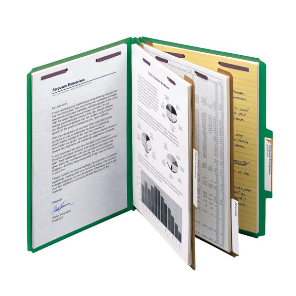 "Smead PressGuard® Classification File Folder with SafeSHIELD® Fasteners, 2 Dividers, 2"" Expansion, Letter Size, Green, 10 per Box (14201)"