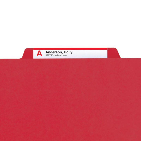 "Smead PressGuard® Classification File Folder with SafeSHIELD® Fasteners, 2 Dividers, 2"" Expansion, Letter Size, Bright Red, 10 per Box  (14202)"