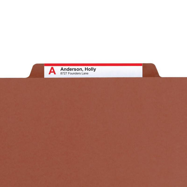 "Smead 100% Recycled Pressboard Classification File Folder, 2 Dividers, 2"" Expansion, Letter Size, Red, 10 per Box  (14205)"