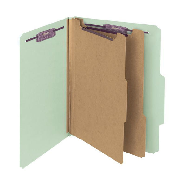 "Smead 100% Recycled Pressboard Classification File Folder, 2 Dividers, 2"" Expansion, Letter Size, Gray/Green, 10 per Box  (14206)"