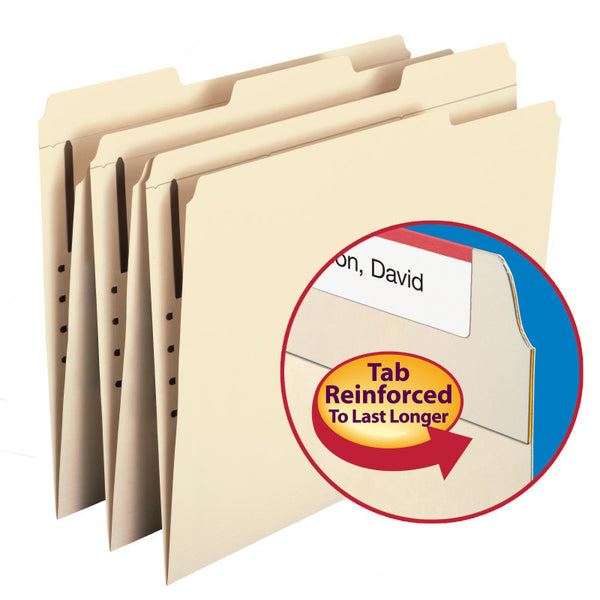 Smead WaterShed®/CutLess® Fastener File Folder, 1 Fastener, Reinforced 1/3-Cut Tab, Letter Size, Manila Box of 50 (14539)