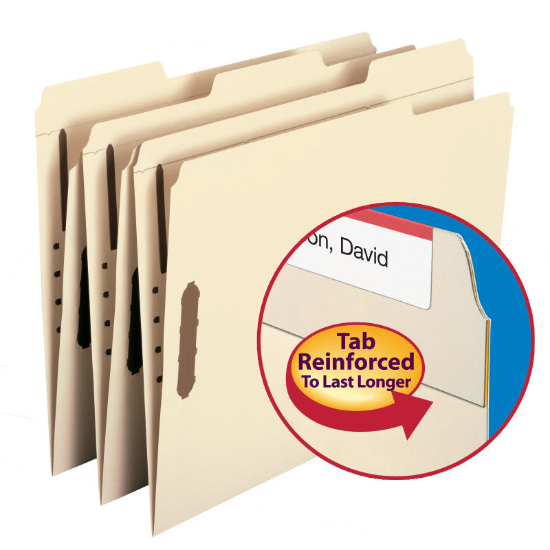 Smead WaterShed®/CutLess® Fastener File Folder, 2 Fasteners, Reinforced 1/3-Cut Tab, Letter Size, Manila Box of 50 (14541)