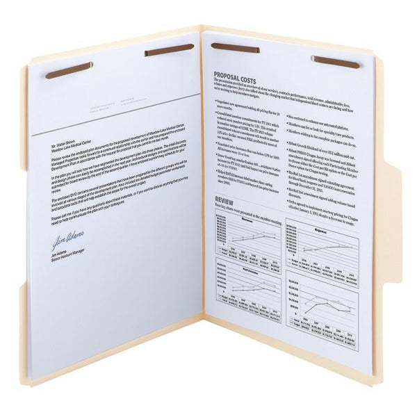 Smead SuperTab® Heavyweight Fastener File Folder, 2 Fasteners, Reinforced 1/3-Cut Tab, Guide Height, Letter Size, Manila, 50 per Box (14545)
