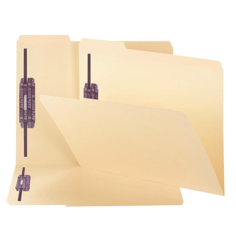 Smead Fastener File Folder with SafeSHIELD® Fasteners, 2 Fasteners, Reinforced 1/3-Cut Tab, Letter Size, Manila, 50 per Box  (14555)