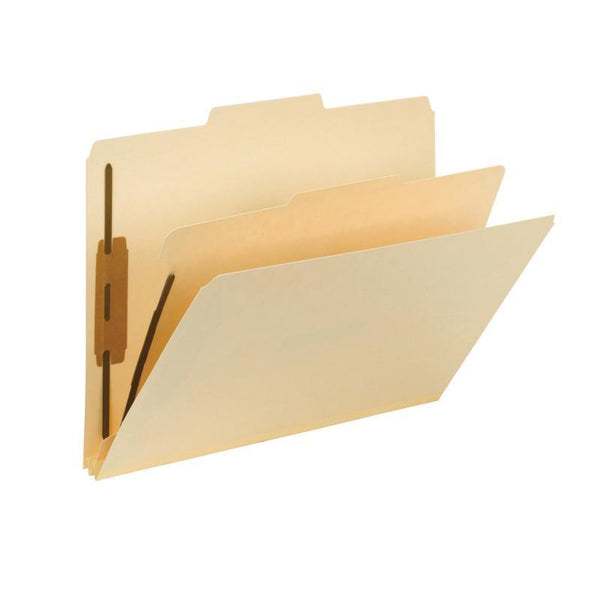 Smead Fastener Heavy-Duty File Folder with Divider, 2 Fasteners, Reinforced 1/3-Cut Tab, Letter Size, Manila, 10 per Box (14560)