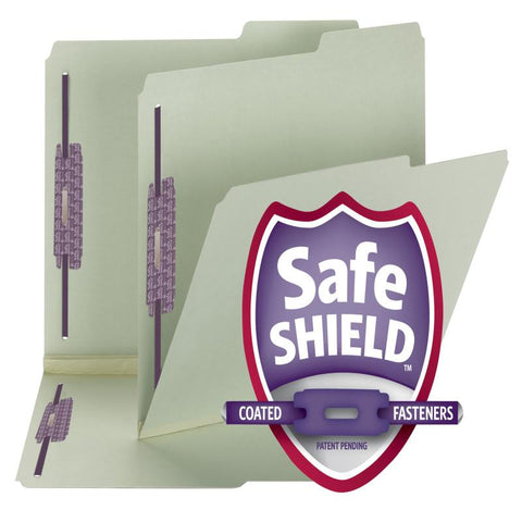 "Smead Pressboard File Folder with SafeSHIELD® Fasteners, 2 Fasteners, 2/5-Cut Tab Right Position, 2"" Expansion,  Letter Size, Gray/Green, 25 per Box  (14920)"