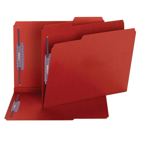 "Smead Pressboard Fastener File Folder with SafeSHIELD® Fasteners, 2 Fasteners, 1/3-Cut Tab, 2"" Expansion, Letter Size, Bright Red, 25 per Box (14936)"