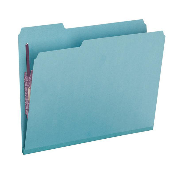 "Smead Pressboard Fastener File Folder with SafeSHIELD® Fasteners, 2 Fasteners, 1/3-Cut Tab, 2"" Expansion, Letter Size, Blue, 25 per Box (14937)"
