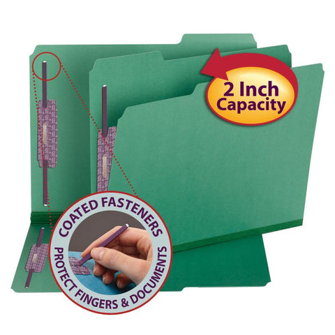 "Smead Pressboard Fastener File Folder with SafeSHIELD® Fasteners, 2 Fasteners, 1/3-Cut Tab, 2"" Expansion, Letter Size, Green, 25 per Box (14938)"