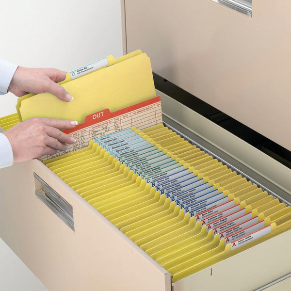 "Smead Pressboard Fastener File Folder with SafeSHIELD® Fasteners, 2 Fasteners, 1/3-Cut Tab, 2"" Expansion, Letter Size, Yellow, 25 per Box (14939)"