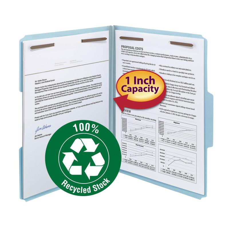 "Smead 100% Recycled Pressboard Fastener File Folder, 1/3-Cut Tab, 1"" Expansion, Letter Size, Blue, 25 per Box (15000)"
