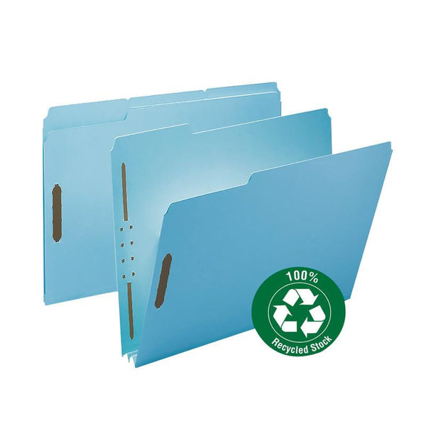 "Smead 100% Recycled Pressboard Fastener File Folder, 1/3-Cut Tab, 2"" Expansion, Letter Size, Blue, 25 per Box (15001)"