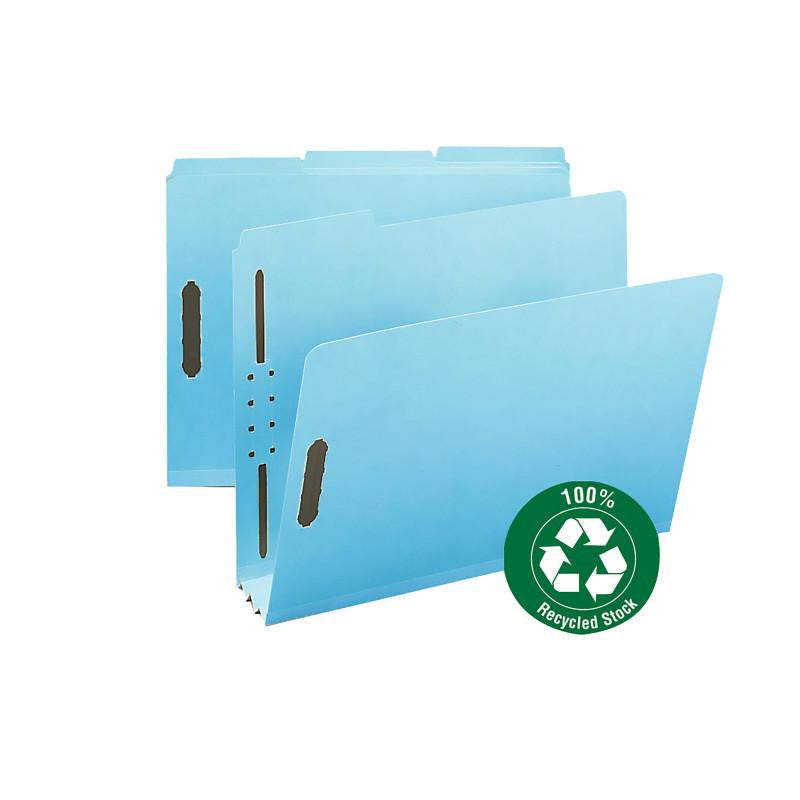"Smead 100% Recycled Pressboard Fastener File Folder, 1/3-Cut Tab, 3"" Expansion, Letter Size, Blue, 25 per Box (15002)"