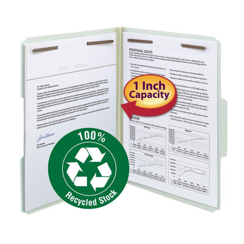 "Smead 100% Recycled Pressboard Fastener File Folder, 1/3-Cut Tab, 1"" Expansion, Letter Size, Gray/Green, 25 per Box (15003)"