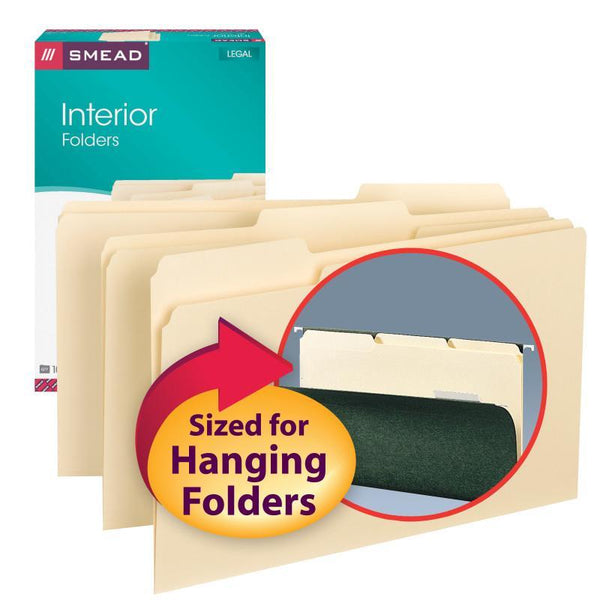 Smead Interior File Folder, 1/3-Cut Tab, Legal Size, Manila, 100 per Box (15230)