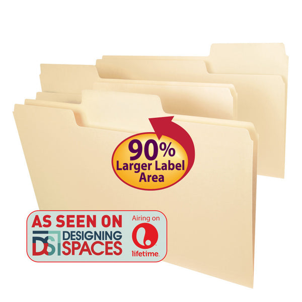 Smead SuperTab® File Folder, Oversized 1/3-Cut Tab, Legal Size, Manila, 100 Per Box (15301)