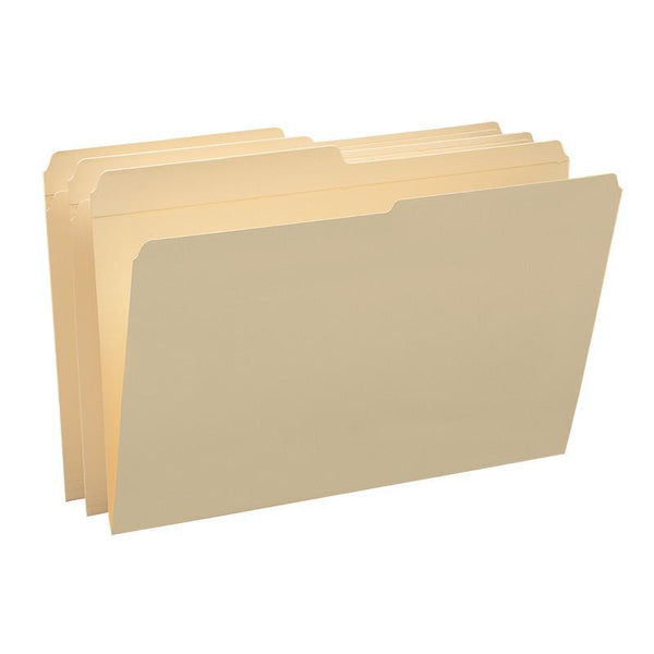 Smead File Folder, Reinforced 1/2-Cut Tab, Assorted Positions, Legal Size, Manila, 100 per Box (15326)