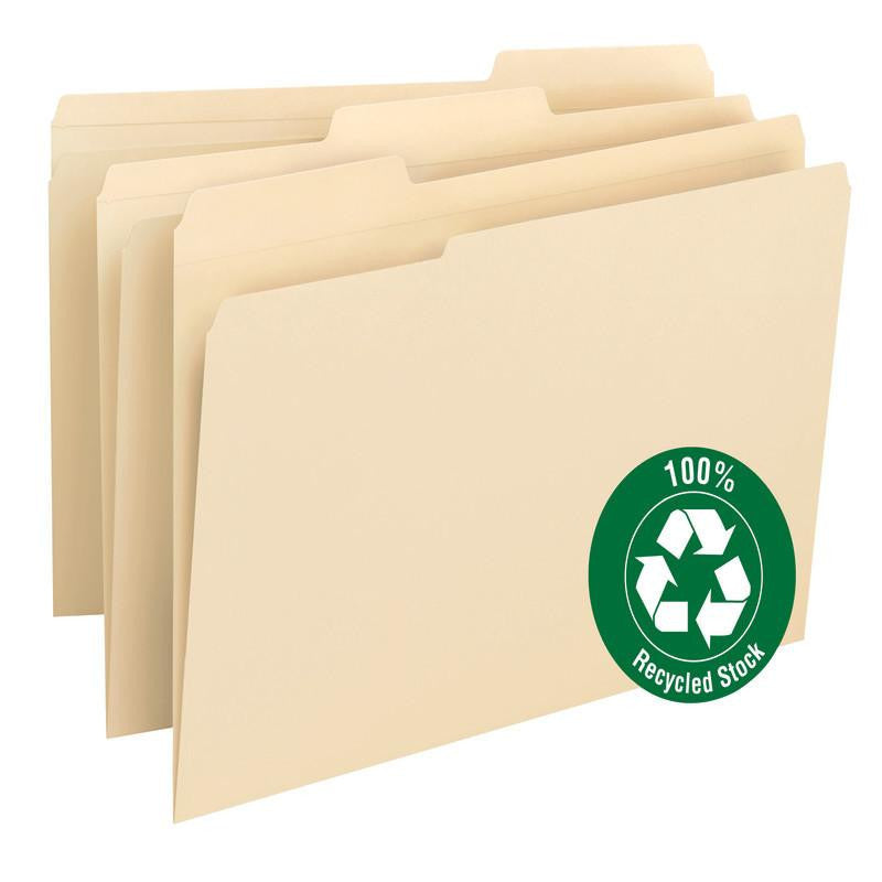 Smead 100% Recycled File Folder, Reinforced 1/3 Cut Tab, Legal Size, Manila, 100 Per Box (15347)