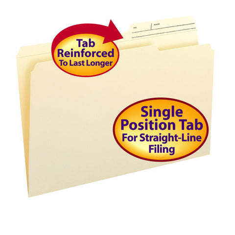 Smead File Folder, Reinforced 2/5 Cut Printed Tab Right Position, Guide Height, Legal Size, Manila, 100 Per Box (15388)