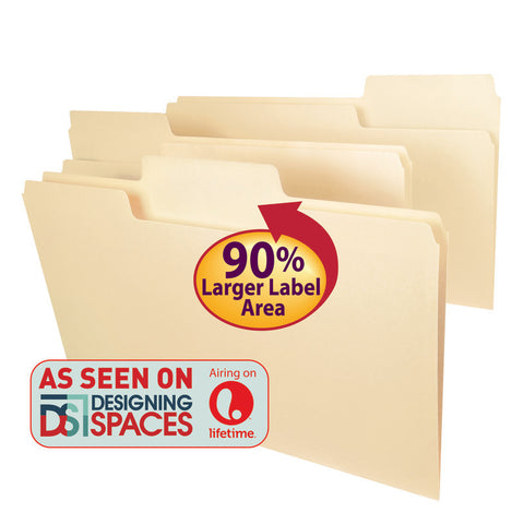 Smead SuperTab® File Folder, Oversized Reinforced 1/3-Cut Tab, Guide Height, Legal Size, Manila, 100 per Box (15395)