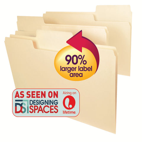 Smead SuperTab® Heavyweight File Folder, Oversized  1/3-Cut Tab, Legal Size, Manila, 50 per Box (15401)