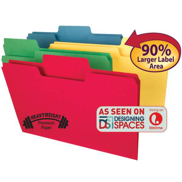 Smead SuperTab® Heavyweight File Folder, Oversized  1/3-Cut Tab, Legal Size, Assorted Colors, 50 per Box (15410)