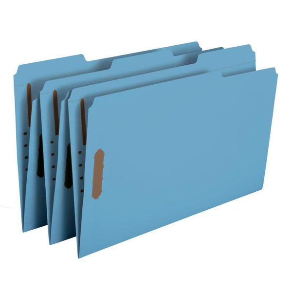 Smead Fastener File Folder, 2 Fasteners, Reinforced 1/3-Cut Tab, Legal Size, Blue, 50 per Box (17040)