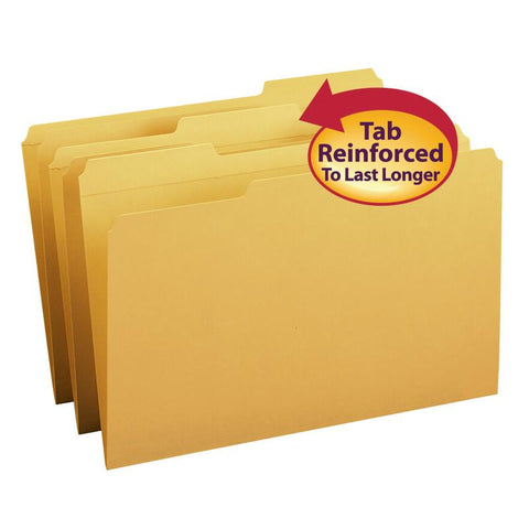 Smead File Folder, Reinforced 1/3-Cut Tab, Legal Size, Goldenrod, 100 per Box (17234)