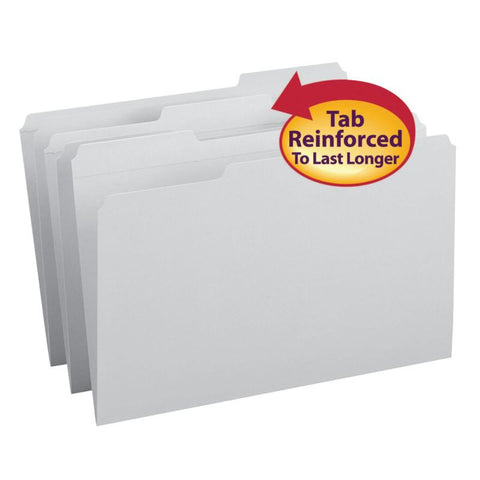Smead File Folder, Reinforced 1/3-Cut Tab, Legal Size, Gray, 100 per Box (17334)