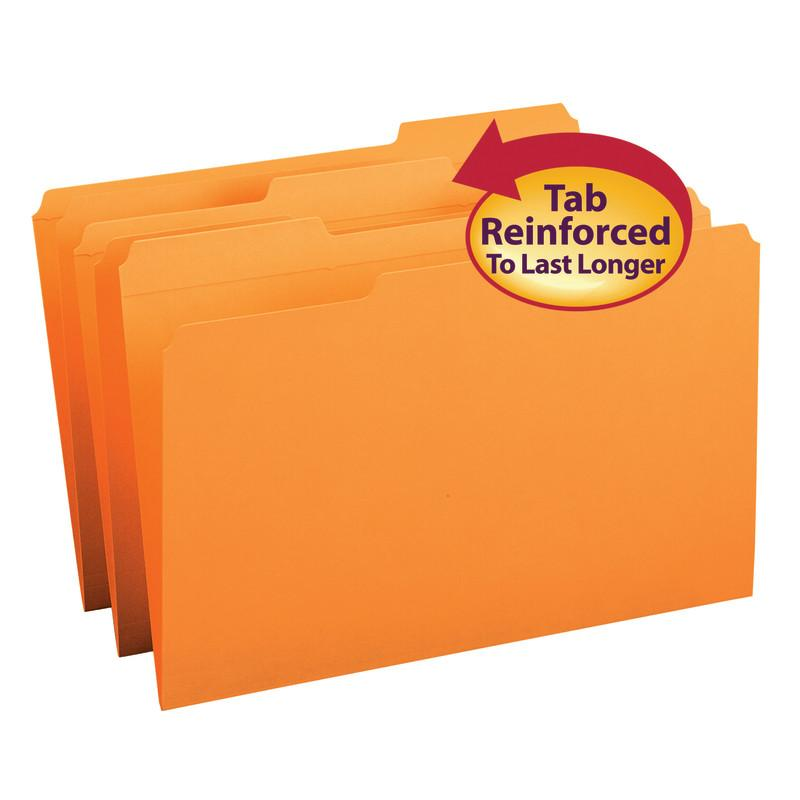 Smead File Folder, Reinforced 1/3-Cut Tab, Legal Size, Orange, 100 per Box (17534)