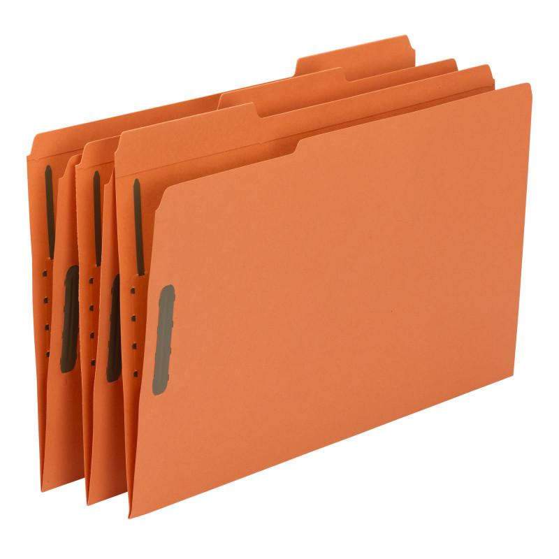 Smead Fastener File Folder, 2 Fasteners, Reinforced 1/3-Cut Tab, Legal Size, Orange, 50 per Box (17540)