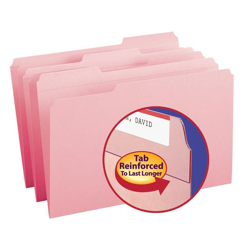 Smead File Folder, Reinforced 1/3-Cut Tab, Legal Size, Pink, 100 per Box (17634)