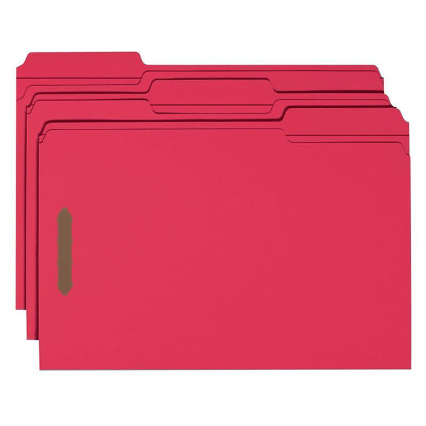 Smead Fastener File Folder, 2 Fasteners, Reinforced 1/3-Cut Tab, Legal Size, Red, 50 per Box (17740)