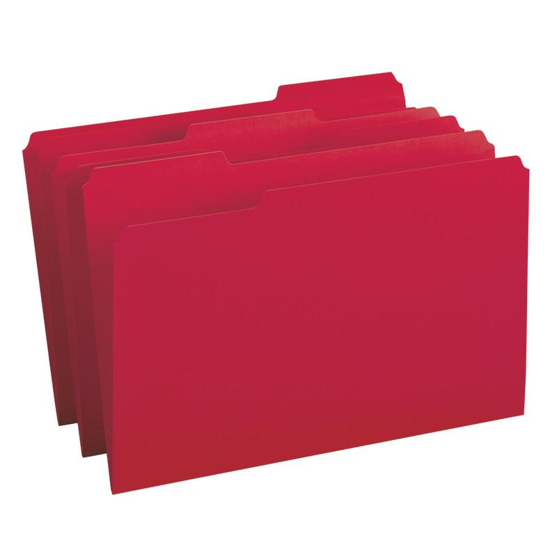 Smead File Folder, 1/3-Cut Tab, Legal Size, Red, 100 per Box (17743)