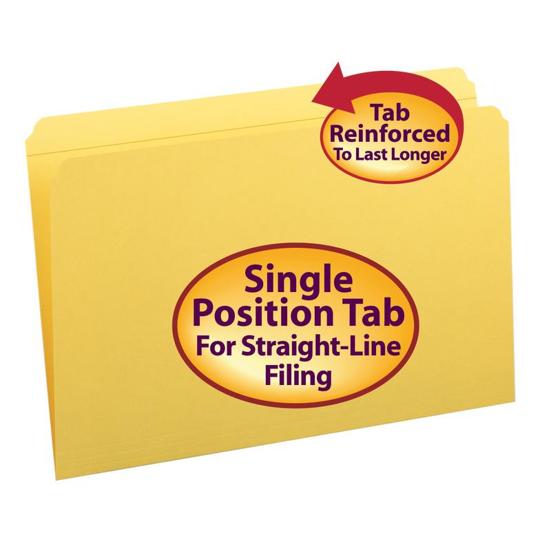 Smead File Folder, Reinforced Straight-Cut Tab, Legal Size, Yellow, 100 per Box (17910)