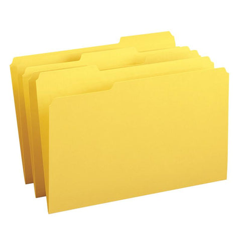 Smead File Folder, Reinforced 1/3-Cut Tab, Legal Size, Yellow, 100 per Box (17934)