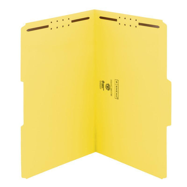 Smead Fastener File Folder, 2 Fasteners, Reinforced 1/3-Cut Tab, Legal Size, Yellow, 50 per Box (17940)