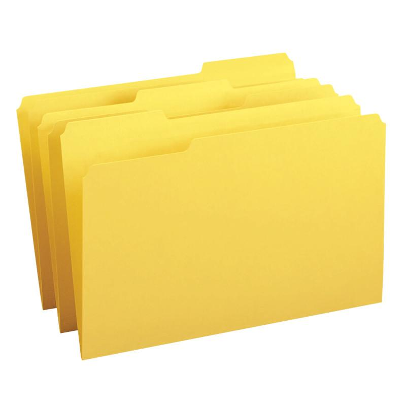 Smead File Folder, 1/3-Cut Tab, Legal Size, Yellow, 100 per Box (17943)