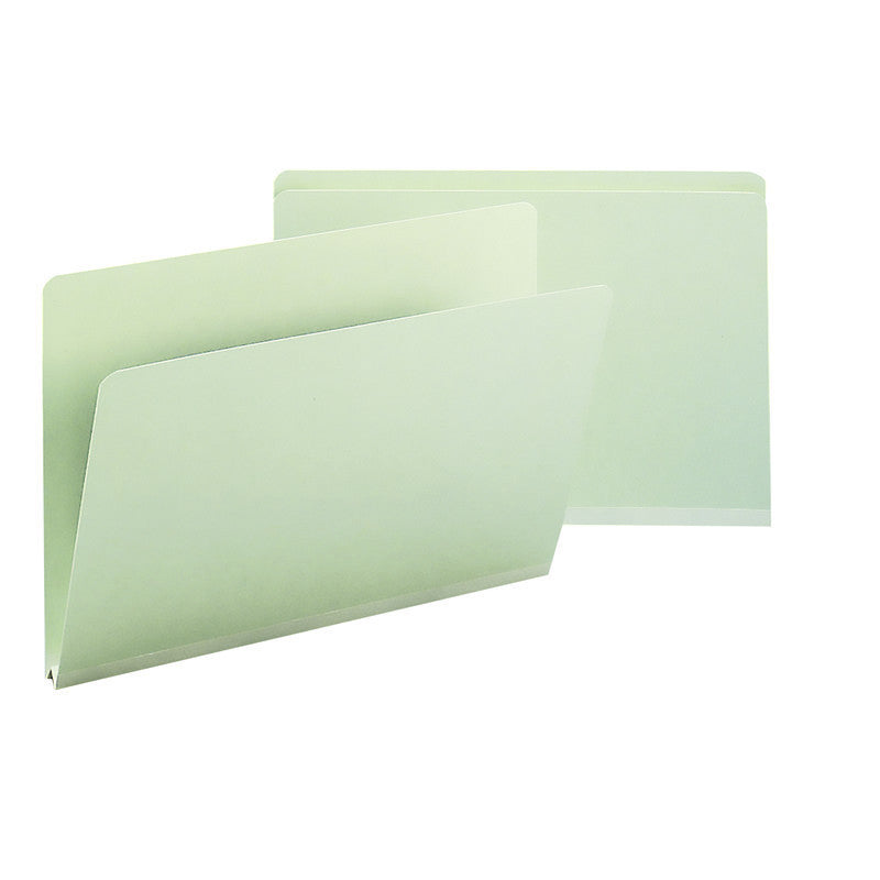 "Box of 25 Smead Pressboard File Folders, Straight-Cut Tab, 1"" Expansion, Legal Size, Gray/Green (18200)"