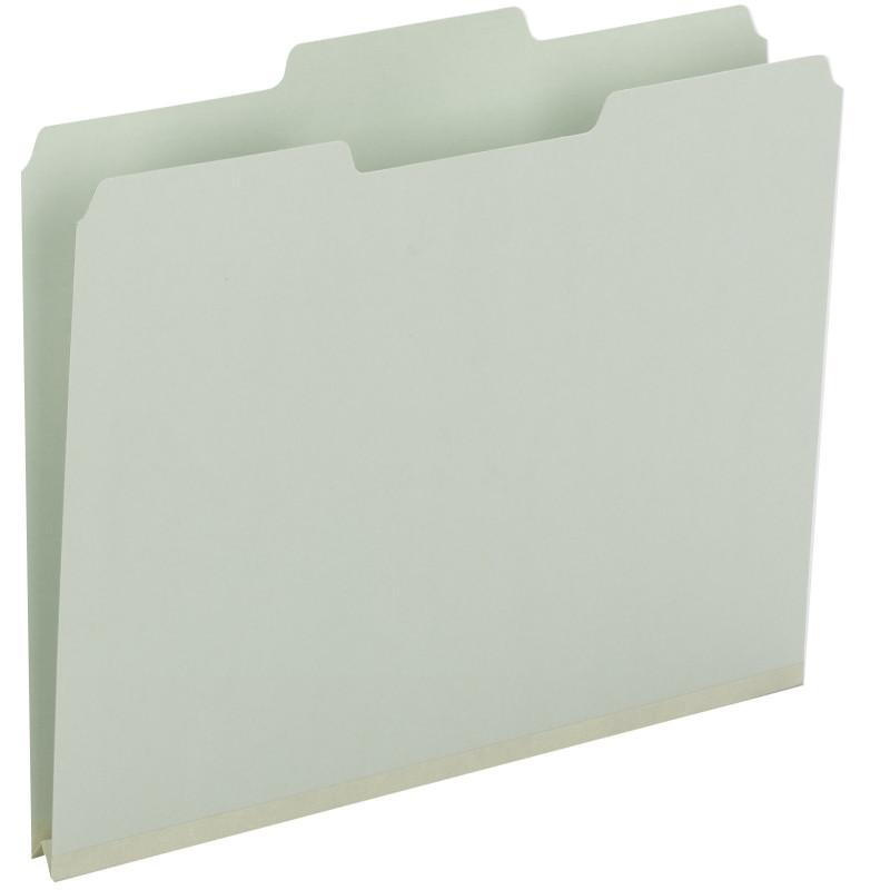 "Smead Pressboard File Folder, 1/3-Cut Tab, 1"" Expansion, Legal Size, Gray/Green, 25 per Box (18230)"