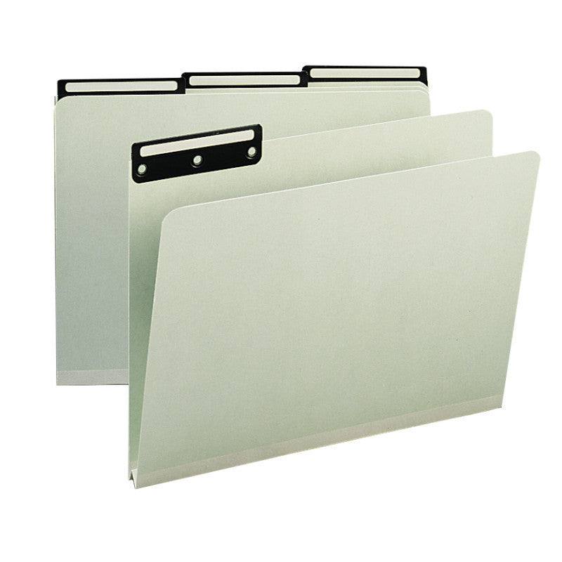 "Box of 25 Smead Pressboard File Folders, 1/3-Cut Tab Flat Metal, 1"" Expansion, Legal Size, Gray/Green (18430)"