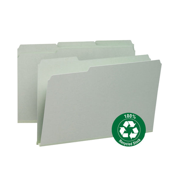 "Smead 100% Recycled Pressboard File Folder, 1/3-Cut Tab, 1"" Expansion, Legal Size, Gray/Green, 25 per Box (18500)"