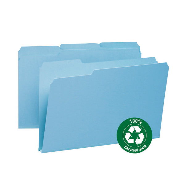 "Smead 100% Recycled Pressboard File Folder, 1/3-Cut Tab, 1"" Expansion, Legal Size, Blue, 25 per Box (18502)"