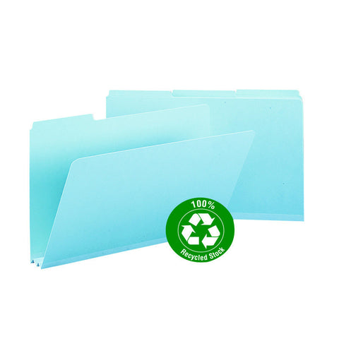 "Smead 100% Recycled Pressboard File Folder, 1/3-Cut Tab, 2"" Expansion, Legal Size, Blue, 25 per Box (18503)"