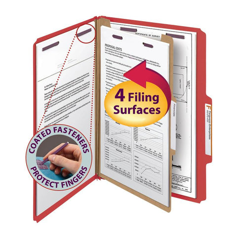 "Smead Pressboard Classification File Folder with SafeSHIELD® Fasteners, 1 Divider, 2"" Expansion, Legal Size, Bright Red, 10 per Box (18731)"