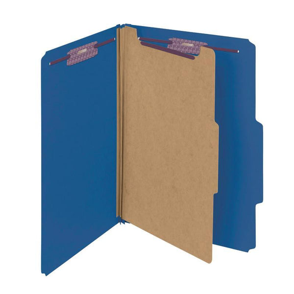 "Smead Pressboard Classification File Folder with SafeSHIELD® Fasteners, 1 Divider, 2"" Expansion, Legal Size, Dark Blue, 10 per Box (18732)"