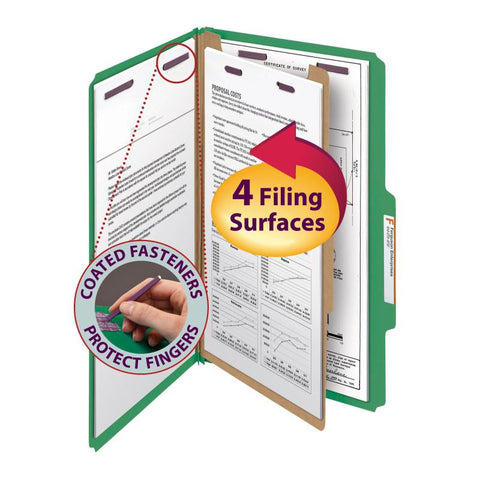 "Smead Pressboard Classification File Folder with SafeSHIELD® Fasteners, 1 Divider, 2"" Expansion, Legal Size, Green, 10 per Box (18733)"